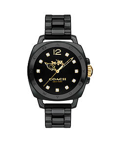 COACH Women's Boyfriend Black Ceramic Bracelet Watch