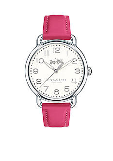 COACH Women's Delancey Stainless Steel Leather Strap Watch