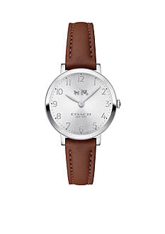 COACH Women's Slim Easton Stainless Steel Leather Watch
