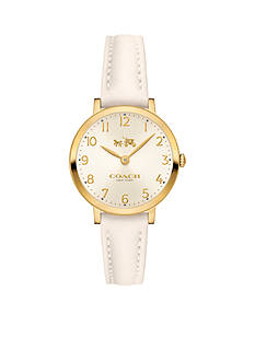 COACH Slim Easton Gold-Plated and Leather Strap Watch