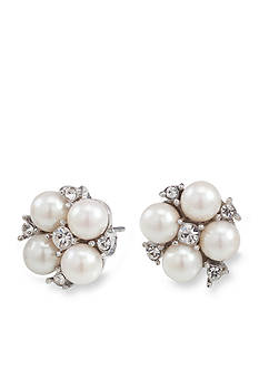 Carolee Floral Motif Pearl and Crystal Stud Pierced Earrings