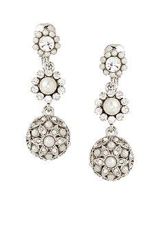 Carolee Triple Drop Pearl and Crystal Clip Earring