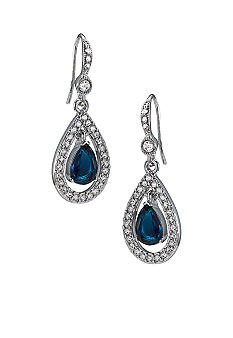 Carolee Simply Blue Crystal Teardrop Pierced Earrings