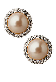 Carolee Crystal and Pearl Button Earrings