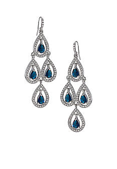 Carolee Simply Blue Crystal Chandelier Pierced Earrings<br>