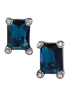 Carolee Simply Blue Emerald Cut Crystal Pierced Earrings<br>
