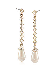Carolee Gold Medalist Linear Drop Pierced Earrings
