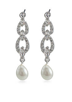 Carolee Crystal and Pearl Link Drop Pierced Earrings