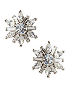 Carolee Small Crystal Floral Button Earrings