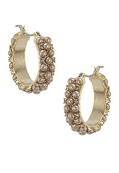 Carolee Mini Make Over Suede Pearl Hoop Pierced Earrings