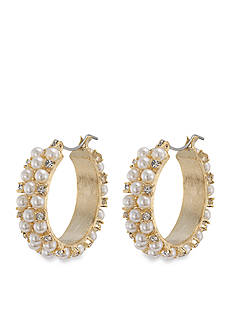 Carolee Mini Make Over White Pearl Hoop Pierced Earrings