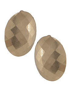 Carolee Satin Gold Clip Button Earrings