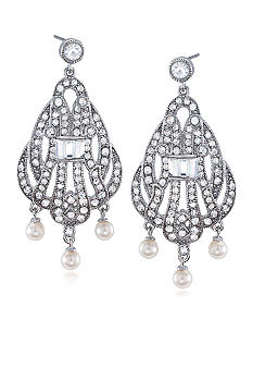 Carolee 40th Anniversary Outrageous Faux Three Pearl Drop Pierced Earrings