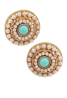 Carolee Blue Skies Button Clip Earrings