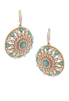 Carolee Blue Skies Large Circle Drop Pierced Earrings