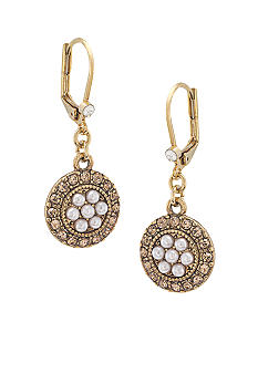 Carolee In Bloom Round Flower Drop Pierced Earrings