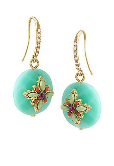 Carolee The Bright Side Round Stone Drop Pierced Earrings