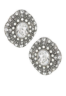 Carolee Ladylike Beauty Oval Button Clip Earrings