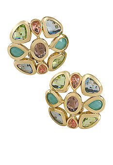 Carolee Ornate Button Clip Earrings