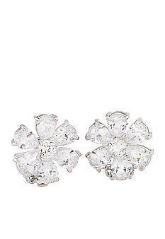 Carolee Debutant Ball Crystal Flower Button Clip On Earrings