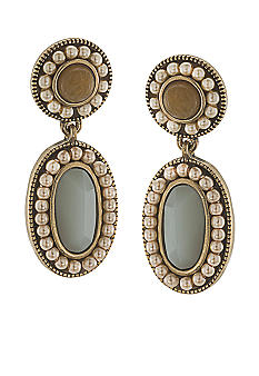 Carolee Sand Shades Large Beaded Double Drop Pierced Earrings