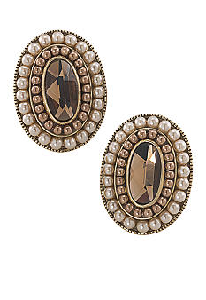 Carolee Sand Shades Oval Button Clip On Earrings