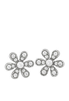 Carolee Debutant Ball Pearl Flower Button Pierced Earrings
