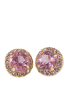 Carolee High Class Color Tickled Pink Button Pierced Earrings