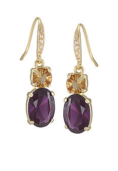 Carolee High Class Color Double Drop Pierced Earrings