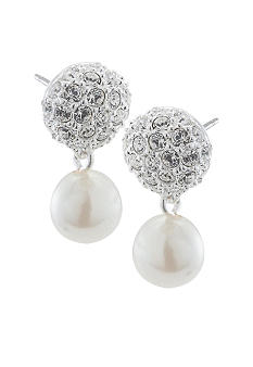 Carolee Pave Top with Simulated Pearl Drop Earrings