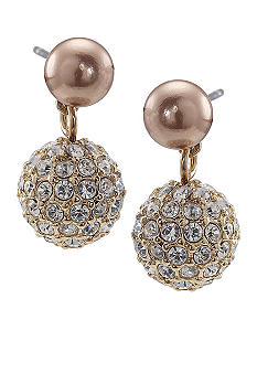 Carolee Small Double Drop Gold Pearl Earring