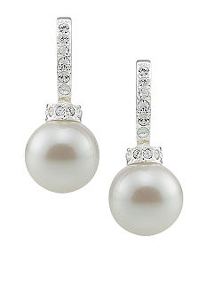 Carolee Pave Hoop with Simulated Pearl Drop Earrings