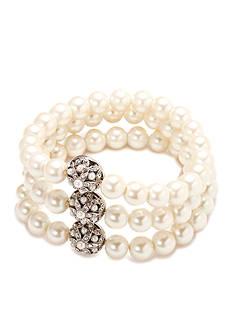 Carolee Silver-Tone Triple Row Pearl Bracelet