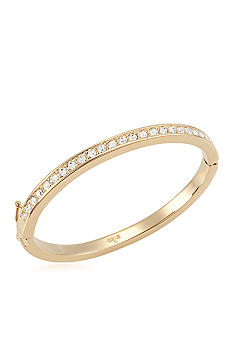 Carolee Gold Medalist Hinged Crystal Bangle Bracelet