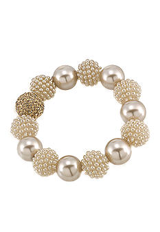 Carolee Mini Make Over Suede Pearl Stretch Bracelet