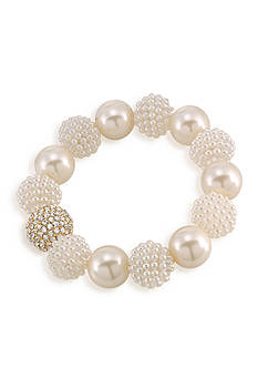 Carolee Aria White Pearl Stretch Bracelet