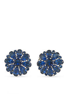 Carolee Upper East Side Blue Button Clip On Earrings