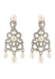 Carolee Silver-Tone Washington Square Chandelier Clip Earrings