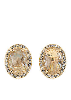 Carolee Gold-Tone Columbus Circle Button Clip On Earrings