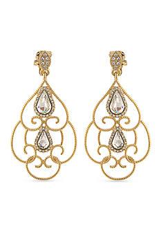 Carolee Gold-Tone Bryant Park Chandelier Clip Earrings