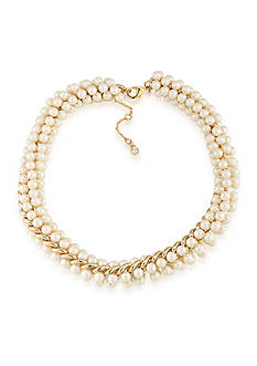 Carolee Union Square White Pearl Choker Necklace