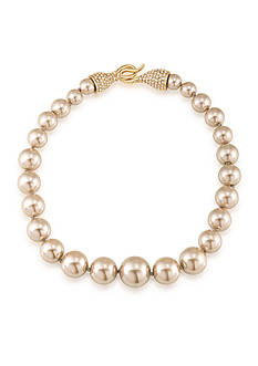 Carolee Union Square Suede Pearl Single Row Necklace