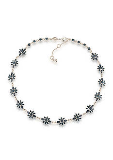 Carolee Silver-Tone New York Star Blue Crystal Collar Necklace