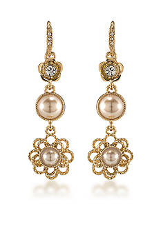 Carolee Union Square Suede Pearl Linear Pierced Earrings
