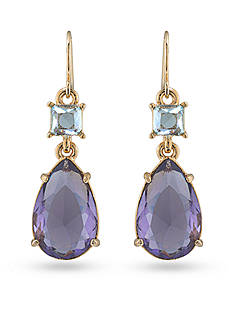 Carolee Gold-Tone Hampton's Purple Amethyst Double Drop Pierced Earrings