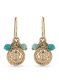 Carolee Gold-Tone The Blue Line Mini Cluster Drop Earrings