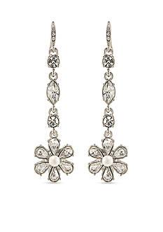 Carolee Silver-Tone Washington Flower Linear Earrings