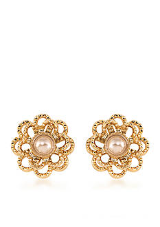 Carolee Union Square Suede Pearl Stud Pierced Earrings