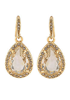 Carolee Gold-Tone Columbus Circle Teardrop Earrings