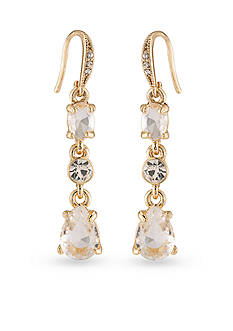 Carolee Gold-Tone Columbus Circle Triple Drop Earrings